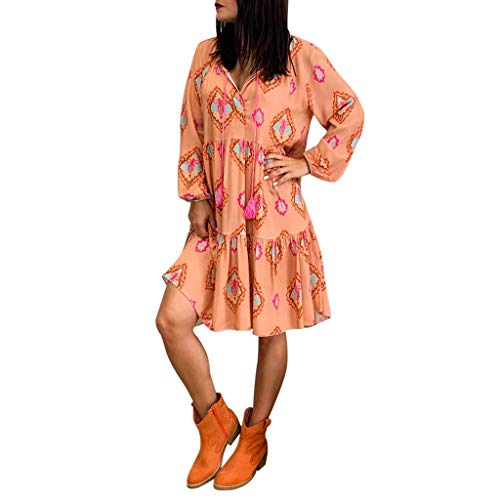 Onefa Women's Summer Casual T Shirt Dresses Long Sleeve V Neck Swing Loose Dress Vintage Floral Print Dress ()