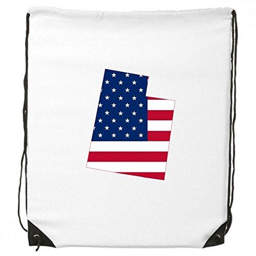 Tuersuer The United States Of America USA Utah Map Stars And Stripes Flag Shape Drawstring Backpack Shopping Sports Bags - Utah Pack String