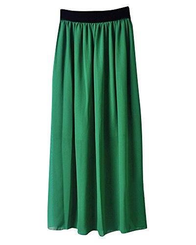 Mesdames Casual Taille lastique en Mousseline de Soie Longue Midi Jupe Femmes Mousseline de Soie lgant Pliss Jupe Fruit Vert