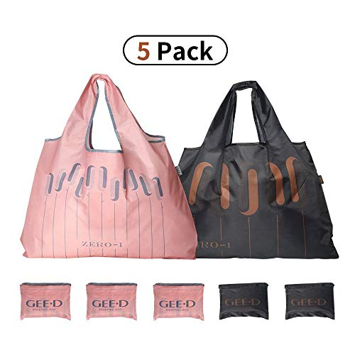 Large Reusable Grocery Bags Foldable Shopping Bags Fashionable Tote Bags Ripstop Waterproof Machine Washable Durable and Lightweight Oxford Fabric Bags (BLACK2 + PINK3, 5)