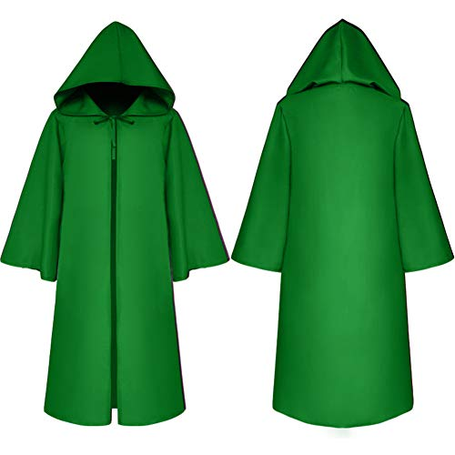 Adult Death Cosplay Rope, Kids Halloween Demon Costume Medieval Cloak Hood (Tag Size-M, Adult-Green)
