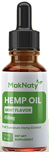 Natural Organic Hemp Seed Extract Oil 450 mg 1 Fl oz.(30ml) Mint Flavor Full Spectrum Rich in Omega 3,6 & 9 Fatty Acids Anti Inflammation by MakNaty by MakNaty