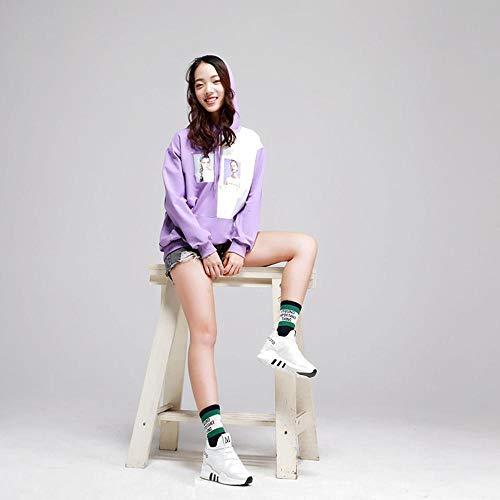 Donna Cappuccio Donna Color maglione Con Nella Due Lunga Femminile Unica A Pullover Taglia Colori Lxiangp Purple Cuciture Felpa Contrasto Camicia 4qwfpp