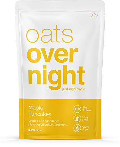 Oats Overnight Plant Based - Maple Pancakes - Premium High-Protein, Low-Sugar, Gluten-Free (2.6oz per pack) (8 Pack)
