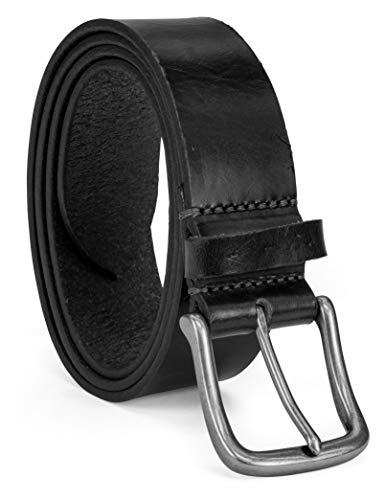 Colonial Belt Company Men's Made in The USA Casual Leather Jean Belt, Black/Classic, 38