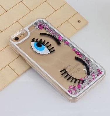 (iPhone 8 / 7 Compatible, Dynamic Hard Case Glitter Bumper Clear Cover - Wink Eye Hipster Lady)