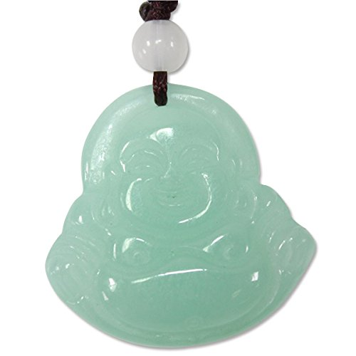 Green Jade Buddha Adjustable Necklace Hanging Ornament Protection Blessing