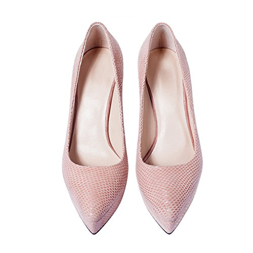 Waterproof High Pointed Heels Green Mouth Shallow Shoes Color Bottom with Platform Size Fine 37 Pink Shoes Thick UrSqU