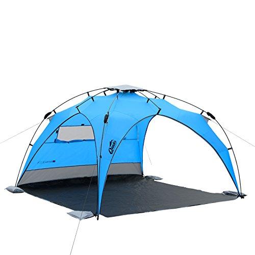Qeedo - Quick Plane Familien Strandmuschel mit UV-Schutz (Strandpavillon) - blau
