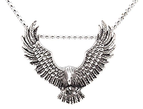Xusamss Fashion Titanium Steel Wing Eagle Tag Pendant Necklace With 24 Inch (Eagle Pendant)