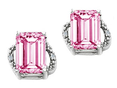 Earring Tourmaline Emerald Pink Cut (Tommaso Design Emerald Cut 8x6mm Simulated Pink Tourmaline Earrings 14 kt White Gold)