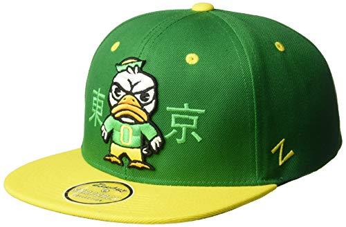 Zephyr NCAA Oregon Ducks Men's Harajuku Snapback Hat Tokyodachi Collection, Kelly Green, Adjustable