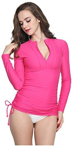 ILISHOP Women's UV Sun Protection Long-Sleeve Rash Guards Rose XL-US10-12