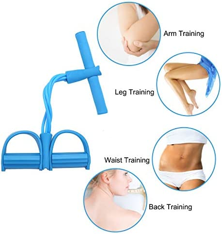 LEBAO Pedal Resistance Band, 4-Tube Fitness Sit-up Rope and Pedal Abdominal Exercise Equipment, Multifunctional Pull Rope, Weight Loss Home Fitness Yoga Fitness Equipment 4