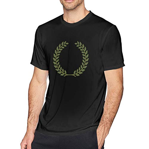 NCNET Men's Big Tall T-Shirt Printed Textured Laurel Wreath Crewneck Athletic Short Sleeve for Youth Adult S-6XL Black]()