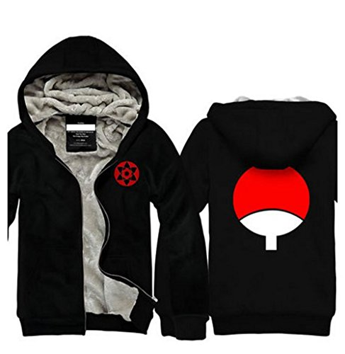 NARUTO Uchiha Sasuke Casual Sweater Unisex Zip Cosplay Hoodie-Black