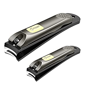 BESTOPE 2018 Newest Nail Clippers Fingernail and Toenail Clippers Cutter Set,2PCS Black Stainless Steel,Sharp Nail Trimmer with Metal Case for Manicure Pedicure