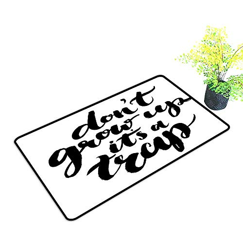 gmnalahome Front Welcome Entrance Door Mats Grow Up Its a Trap with Hand Written Romantic Letters Motivational Image Black Home Decor Rug Mats W33 x H21 INCH
