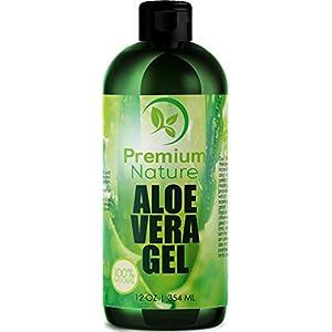 Aloe Vera Gel Pure Juice - For Face & Dry Skin Psoriasis Eczema Treatment Cold Sore Scar After Bug Bite Redness Relief Rash Razor Bump Sunburn DIY Body Lotion Skincare Moisturizer 100 Percent Pure