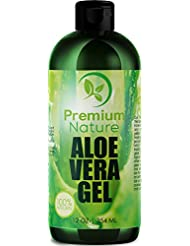 Aloe Vera Gel Pure Juice - For Face & Dry Skin Psoriasis Eczema Treatment Cold Sore Scar After Bug Bite Redness Relief Rash Razor Bump Sunburn DIY Body Lotion Skincare Moisturizer 100 Percent Pure
