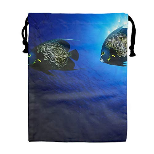 French Angelfish Print Drawstring Bag Rucksack Totes Gym Bag Party Favors for Kids - French Angel Fish