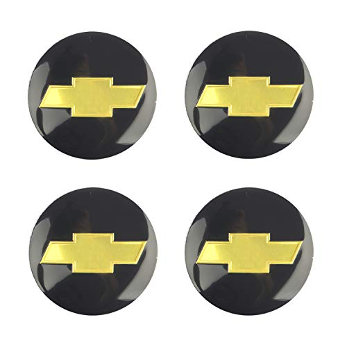 (4PCS 56.5mm 2.2'' Auto Car Sticker Wheel Center Hub Cap Logo Aluminium fit for Chevrolet C4500 Camaro Chevy Cheyenne Colorado Corvette Cruze Express 2500 3500 4500 Silverado (56MM, Black))