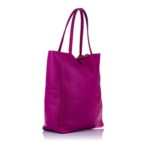 auténtica mujer 5 NEGRO Bolso ITALIANA bag FIRENZE ITALY 27x37x13 cuero acabado Color lujo gneuino cm PELLE Savage Fucsia de mujer IN piel shopping ARTEGIANI Bolso VERA tacto suave MADE pqwqS0z
