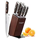 Knife set,7 Piece Kitchen Knife Set with Wooden Block,German High Carbon 1.4116 Stainless Steel Knife Block Set for Chef,Full-Tang