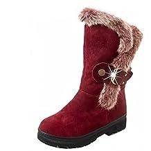 Women fashion rabbit fur mid calf boot rhinestone buckle suede snow ski booties