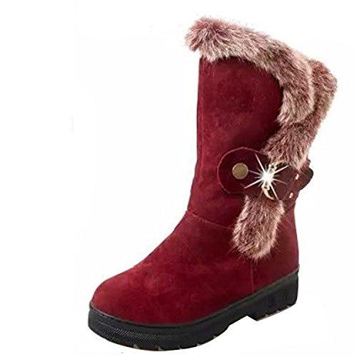 Gaorui Women Fashion Rabbit Fur Mid Calf Boot Rhinestone Buckle Suede Snow Ski Booties Red yrW2RDB