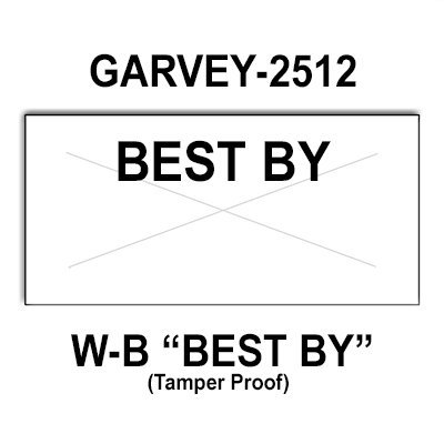 200,000 Garvey compatible 2512 ''Best By'' White General Purpose Labels to fit the G-Series 25-8. G-Series 25-9, G-Series 25-10 Price Guns. Full Case + includes 20 ink rollers. by Infinity Labels