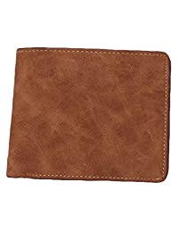 American Trends Men's Bifold PU Leather Thin Credit Card Holder Slimfold Wallet Coffee