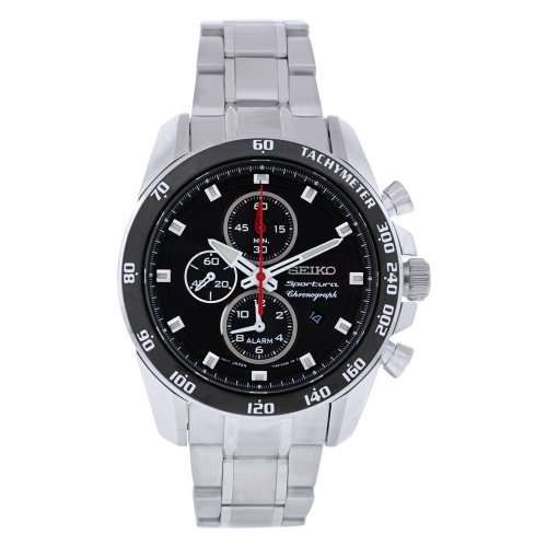 - Seiko Men's SNAE69 Stainless Steel Analog with Black Dial Watch