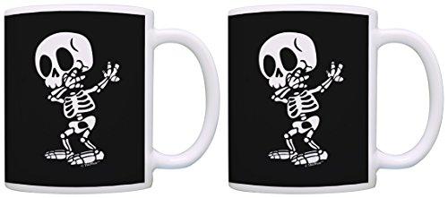 Hello Kitty Pumpkin Carving (Halloween Coffee Mug Dabbing Skeleton Mug Anatomy Mug Skeleton Gifts 2 Pack Gift Coffee Mugs Tea Cups Black)