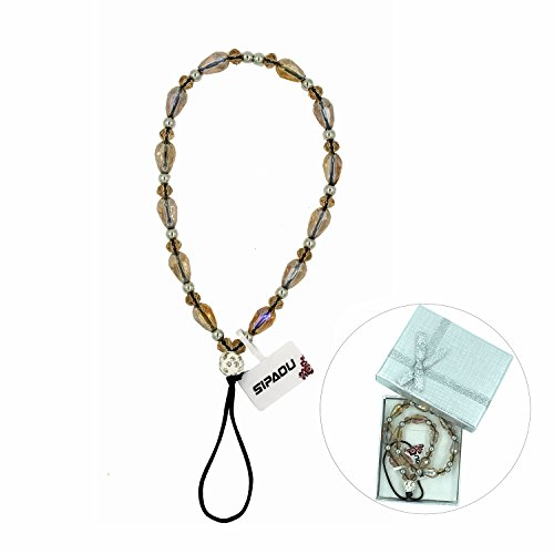 SIPAOU Women's Fashion Cell Phone Lanyard Strap, 7.8 Inch Bling Crystal Beads Hand Wrist Lanyard Strap String for Cell Phone Purse Camera MP3 MP4 iPod PSP Keychain, Gift Box Included(Short Champagne)