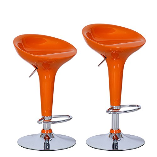 Asense Orange Swivel Modern Adjustable Bar Stool Chair with Micro-back(set of 2) - Norwood Brown Cherry