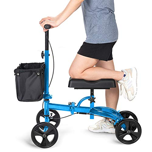 - OasisSpace Steerable Knee Walker | Economy Knee Scooter for Foot Injuries Ankles Surgery (Blue)