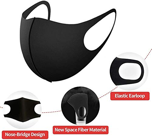 Seahouse 3 Pcs Outdoor Face Mask Multifunctional Seamless Microfiber UV Protection for Men Women Motorcycle Hiking Cycling Black