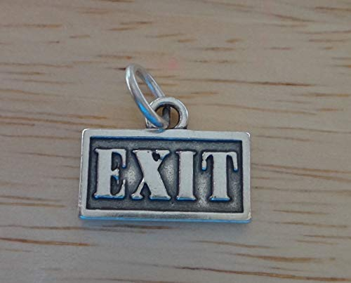 (Sterling Silver 12x16mm says Exit Driving Street Sign Charm Jewelry Making Supply, Pendant, Sterling Charm, Bracelet, Beads, DIY Crafting and Other by Wholesale Charms)