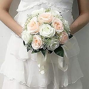 Dress First Wedding Bridal Bouquet Handmade Artificial Bridal Bridesmaid Fake Flowers White Rose Valentine's Day 25