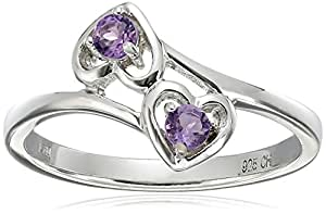 Sterling Silver Round Amethyst Double Heart Ring, Size 7