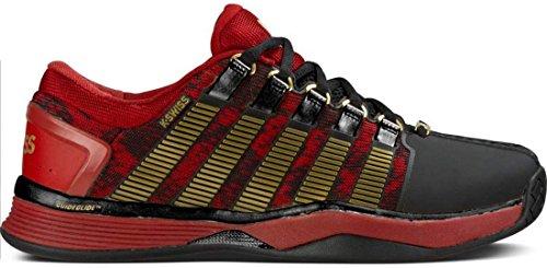K-Swiss 05033 Men's Hypercourt 50TH Shoe, Biking Red/Black/Gold - 10