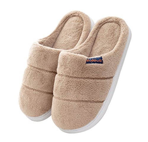 Cattior Mens Coral Warm Spa Slippers Bedroom Slippers Khaki qN4jUUe1