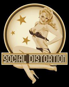 Social Distortion - Blonde Retro Pin Up Girl in Bikini - Sticker / Decal Blonde Pin Up Girl
