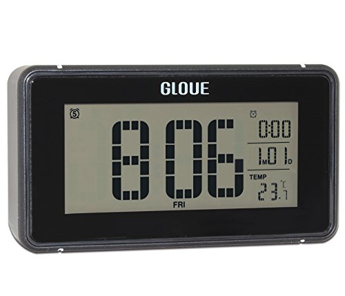 Gloue 21 polyphonic music Digital Alarm Clock ,snooze and Large Display and Smart backlight,Battery Operated and Temperature Display (Black)