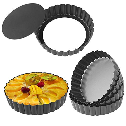 (Quiche Pans, Homono Commercial Grade Non Stick Removable Bottom 5 Inch Mini Tart Pans (Pack of 6))