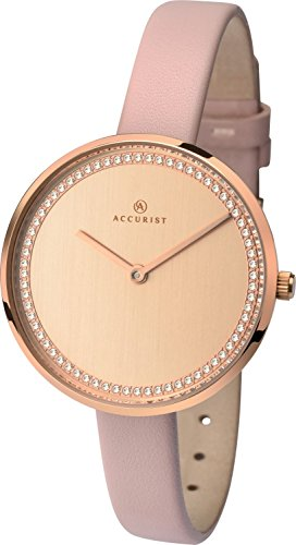 Accurist Ladies Analogue Quartz Watch With Rose Gold Dial And Pink Leather Strap 8232
