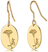 CHESKY Birth Flower Earrings 18K Gold Engraved Custom Floral Signet Earrings Dainty Hand Stamped ...