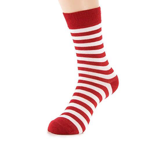 Natural Underwear Womens Socks Red White Stripes Christmas Casual Daily Medium Bamboo Crew Socks Comfort Luxury Healthy (Red Bamboo)