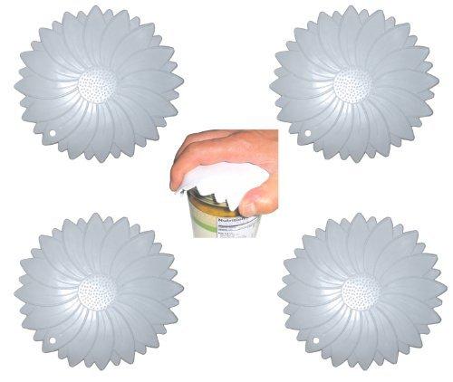 Set of 4 Flexible Textured Rubber Jar & Cap Openers